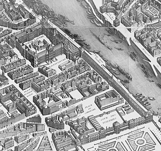 Tuileries Palace - The Tuileries Palace and the Louvre on the 1739 Turgot map of Paris, during the reign of Louis XV