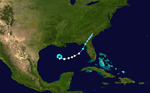 Weather map of Hurricane Love, the final storm of the season