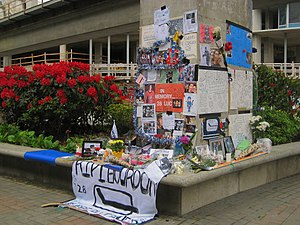 2008–09 Vancouver Canucks season - A collection of items at a makeshift Luc Bourdon memorial outside General Motors Place.