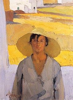 <i>The Straw Hat</i> (Lytras) painting by Nikos Lytras
