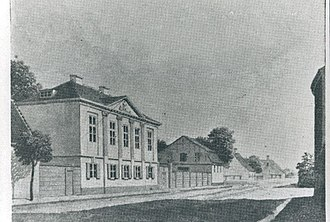 Møstings Hus - Møsting's House at its original location, 1850