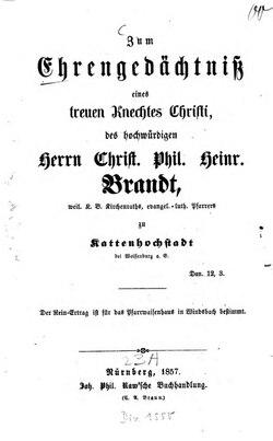 Zum Ehrengedächtniß Christian Philipp Heinrich Brandt Wikisource