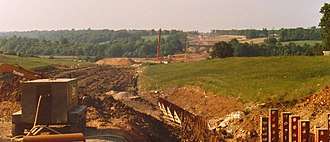 M25 motorway - View north from Higher Denham Fire Station at Tatling End on the A40 in July 1984, with the Chiltern Main Line five-arch 1906 Chalfont Viaduct, originally built to straddle the River Misbourne