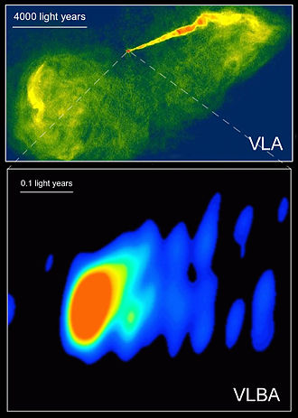 Radio astronomy -  An optical image of the galaxy M87 (HST), a radio image of same galaxy using Interferometry (Very Large Array-VLA), and an image of the center section (VLBA) using a Very Long Baseline Array (Global VLBI) consisting of antennas in the US, Germany, Italy, Finland, Sweden and Spain. The jet of particles is suspected to be powered by a black hole in the center of the galaxy.