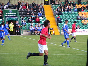 Victoria Stadium (Northwich) - Fabio da Silva playing for Manchester United Reserves against Chelsea Reserves at the Victoria Stadium in 2008.