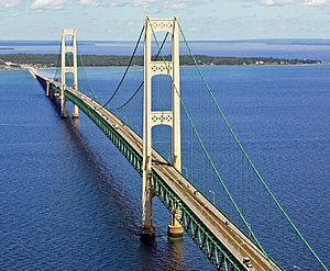 Mackinac Bridge - Image: Mackinac Bridge from the air 4