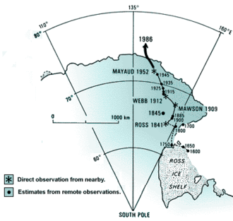 South Magnetic Pole - Locations of South Magnetic Pole from direct observation and model prediction.