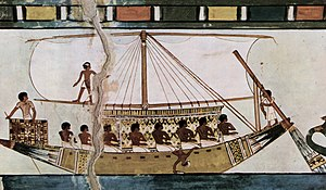 Rudder - Stern-mounted steering oar of an Egyptian riverboat depicted in the Tomb of Menna (c. 1422-1411 BC)