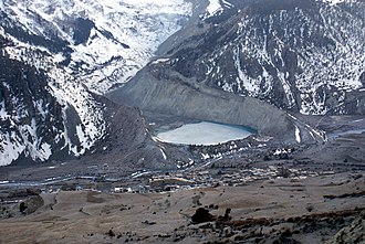 Moraine - The snow-free debris hills around the lagoon are lateral and terminal moraines of a valley glacier in Nepal.