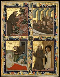 Manuscript Leaf with Scenes from the Life of Saint Francis of Assisi MET DT3784.jpg