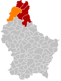 Map of Luxembourg with Wincrange highlighted in orange, the district in dark grey, and the canton in dark red