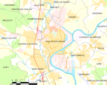 Map of the commune of Chalon-sur-Saône