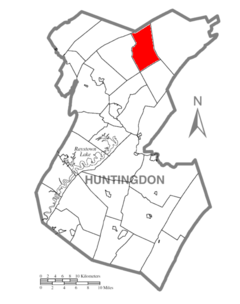 Map of Huntingdon County, Pennsylvania Highlighting Barree Township.PNG