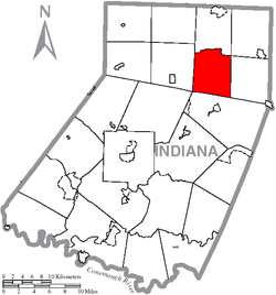 Map of Indiana County, Pennsylvania Highlighting Grant Township