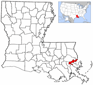New Orleans Emergency Medical Services - Image: Map of Louisiana and USA highlighting Orleans Parish