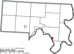 Location of Racine in Meigs County