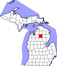 Map of Michigan highlighting Crawford County