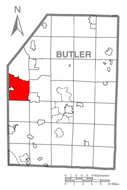 Map of Butler County, Pennsylvania highlighting Muddy Creek Township