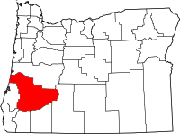 Map of Oregon highlighting Douglas County