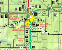 KDOT map of Saline County (legend)