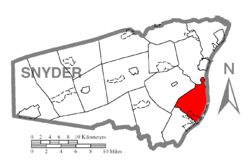 Map of Snyder County, Pennsylvania highlighting Union Township