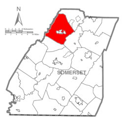Map of Somerset County, Pennsylvania Highlighting Jenner Township