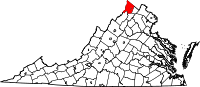 Map of Virginia highlighting Frederick County