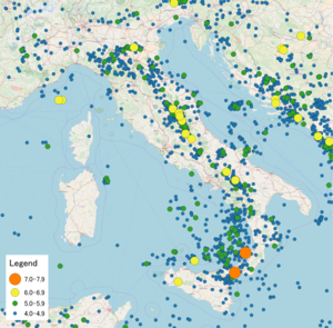 List of earthquakes in italy wikipedia map of earthquakes in italy 1900 2017 gumiabroncs Images