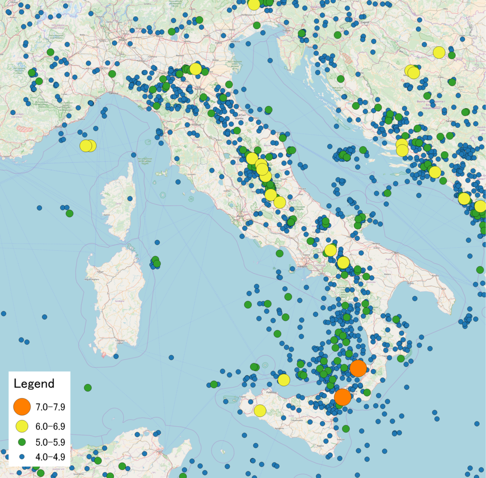 Map of earthquakes in Italy
