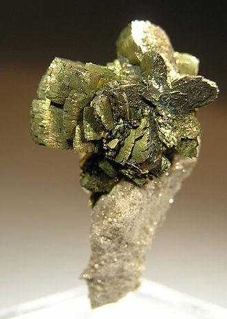 Marcasite - Iridescent cluster of marcasite crystals (3.3 x 2.1 x 1.4 cm)