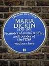 Maria Dickin 1870 - 1951 Promoter of animal welfare and founder of the PDSA was born here.jpg