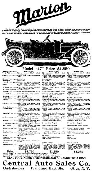 Marion (automobile) - A 1912 Marion Automobile Advertisement - Syracuse Herald March 10, 1912