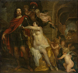 Allegorical depiction of Mars (Friedrich Wilhelm, elector of Brandenburg?) receiving the weapons of Venus (Louisa Henrietta, countess of Nassau?) and Vulcan