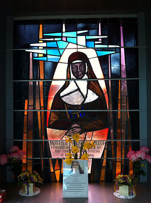 Penola, South Australia - Stained glass window at Mary MacKillop shrine, Penola South Australia
