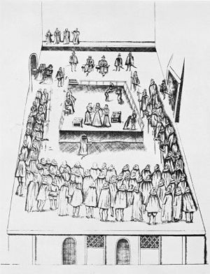 Robert Beale (diplomat) - This sketch of the execution of Mary Queen of Scots was drawn to accompany Robert Beale's official record of the proceedings.
