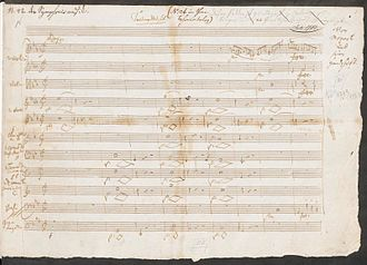 Masonic music - The first page of Mozart's manuscript for his Maurerische Trauermusik (Masonic Funeral Music) KV 479 (Staatsbibliothek zu Berlin)