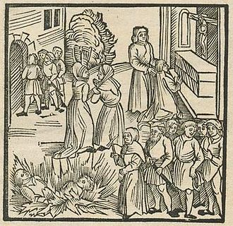 Lisbon massacre - A German woodcut depicting the massacre, one of the few woodcuts that survived the 1755 Lisbon earthquake and the fire at Torre do Tombo