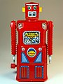 Masudaya – Tin Wind Up – Mini Machine Man Robot (ミニ マシンマン ロボット) – Last member of the Gang of Five – Front.jpg