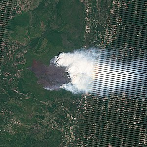 Honey Prairie Fire - Satellite image of the Honey Prairie Fire.