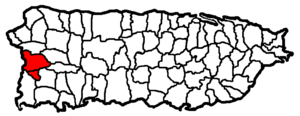Mayagüez metropolitan area - Map of Puerto Rico highlighting the Mayagüez Metropolitan Statistical Area.
