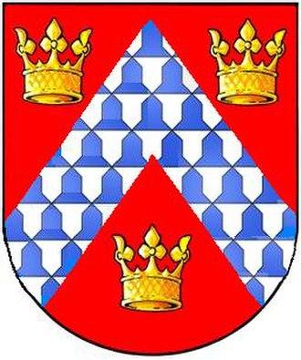 Boringdon Hall - Arms of Mayhew of Boringdon: Gules, a chevron vair between three ducal crowns or.