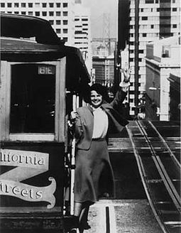 As mayor of San Francisco, 1978-1988 Mayor Diane Feinstein Cable Car.jpeg