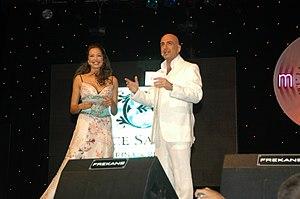 Serhat (singer) - Azra Akın (left) and Serhat during 2004 Megahit-International Mediterranean Song Contest.