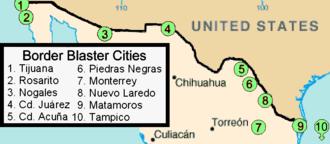 Border blaster - Image: Mexico.Border Blasters.map.02