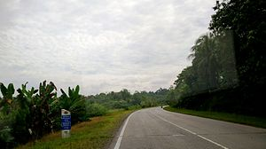 Pan-Borneo Highway - Milestone of Malaysia Federal Route 1 between Sibu and Bintulu in Sarawak.