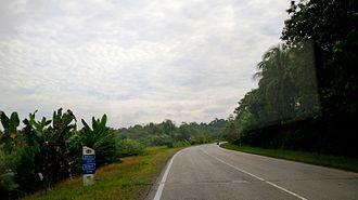 Pan-Borneo Highway - Milestone of Malaysia Federal Route 1 between Sibu and Bintulu in Sarawak.