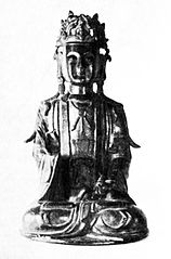 Seated bodhisattva Mahāsthāmaprāpta with a pearl in his hand