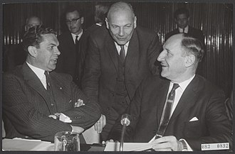 Joop den Uyl - Minister of Agriculture and Fisheries Barend Biesheuvel, Minister of Economic Affairs Joop den Uyl and Minister of Foreign Affairs Joseph Luns at a conference in Brussels on 26 July 1965.