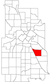 Location of Longfellow within the U.S. city of Minneapolis