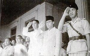 Arnold Mononutu - Mononutu (3rd from right) with Mohammad Hatta and Sultan Hamengkubuwono IX